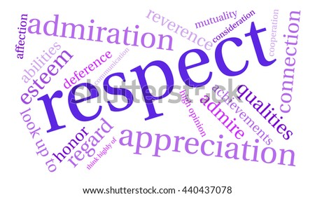 Respect word cloud on a white background.