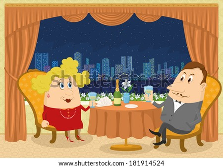 Respectable gentleman and fat lady in red sitting near the table in a restaurant with view on night city and raising a toast, funny cartoon illustration. Vector - stock vector