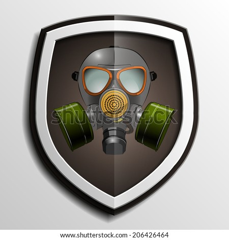 Respirator mask vector icon on shield background - stock vector