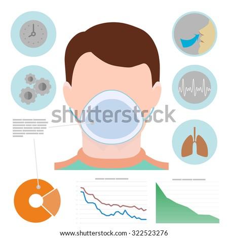 Respiratory infographic man respiratory mask icons stock vector respiratory infographic man in respiratory mask icons with lungs easy breathing clock ccuart Images