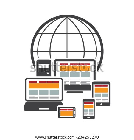 Responsive and scalable web design on different devices - stock vector