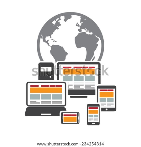 Responsive and scalable web design on different devices - EPS10 vector illustration  - stock vector