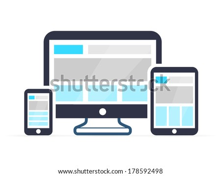 Responsive design for web- computer screen, smartphone, tablet icons - stock vector
