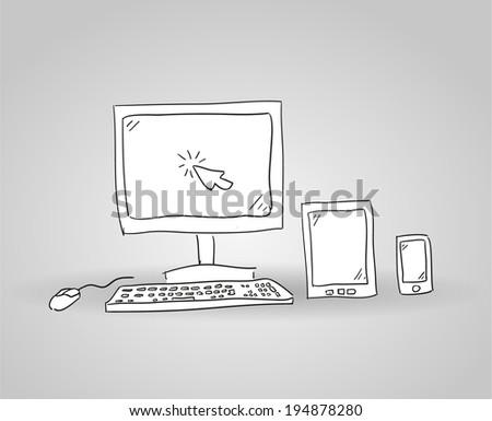 Responsive design hand drawn background. Vector eps10. - stock vector