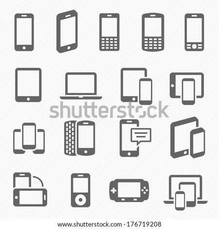Responsive design icons for web- computer screen, smartphone, tablet icons set - stock vector