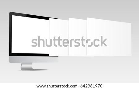 Responsive Imac Screen Mockup Computer Monitor Stock Vector ...