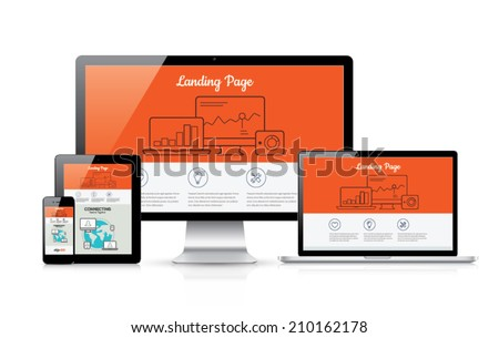 Responsive landing page development vector template illustration - stock vector
