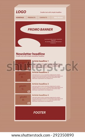 Responsive Newsletter Layout Template Business Nonprofit Stock - Newsletter outline template
