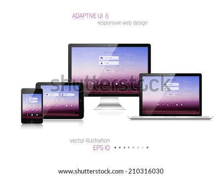 Responsive web design. Adaptive user interface. Digital devises. Laptop, tablet, monitor, smartphone. Web site template concept. - stock vector