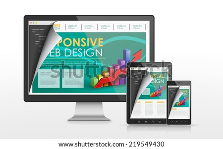 responsive web design concept in flat screen TV, tablet and smart phone