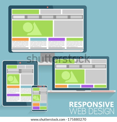 Responsive Web Design Concept on various devices in Modern Flat Style, vector - stock vector