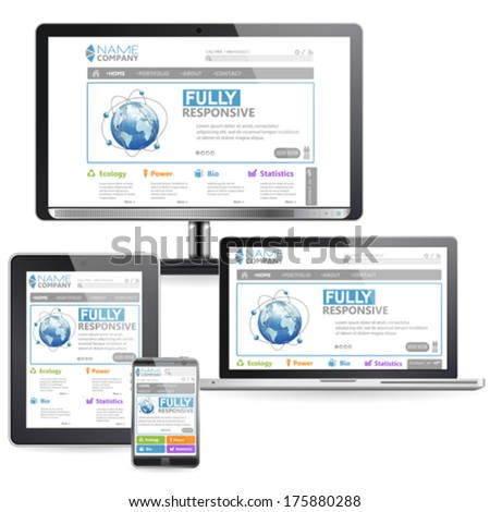 Responsive Web Design Concept on various devices, vector isolated on white - stock vector
