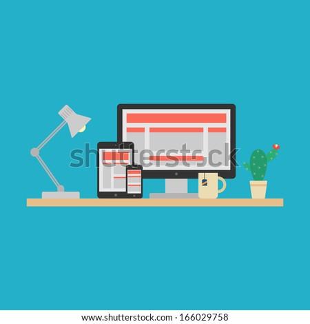 Responsive Web Design Concept. Vector - stock vector