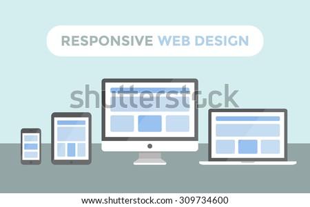 Responsive web design concept, website page on screen of desktop computer, laptop, tablet pc and smartphone - stock vector
