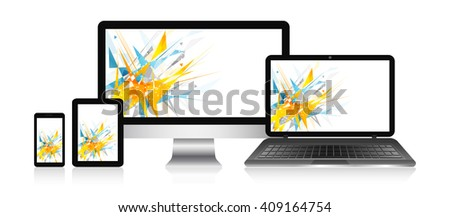 Responsive web design devices with vector abstract background. Computer, notebook, tablet and smart phone. - stock vector