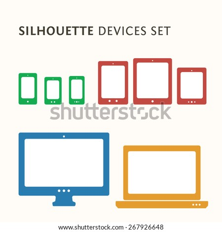Responsive web design illustration with icon set. Smartphone, desktop computer, laptop and tablet PC icons.  - stock vector