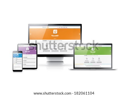 Responsive web design in modern highly detailed electronic devices. Flat website styles in four colors. - stock vector