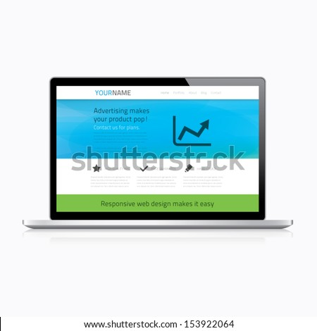 Responsive web design in modern laptop - stock vector