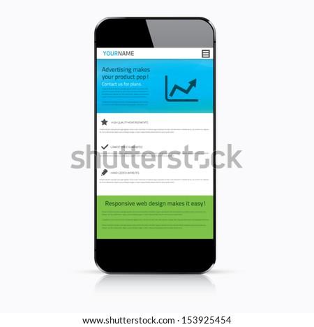 Responsive web design in modern smartphone - stock vector