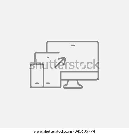 Responsive web design line icon for web, mobile and infographics. Vector dark grey icon isolated on light grey background. - stock vector
