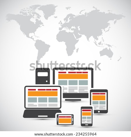 Responsive web design on different devices - stock vector