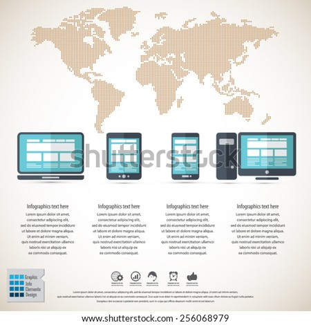 Responsive web design on different devices stock vector 2018 responsive web design on different devices infographic background with dotted world map eps10 vector gumiabroncs Choice Image