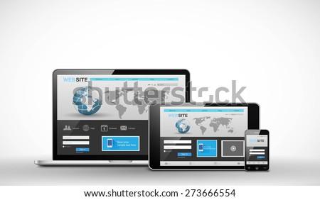 Responsive web design template - stock vector