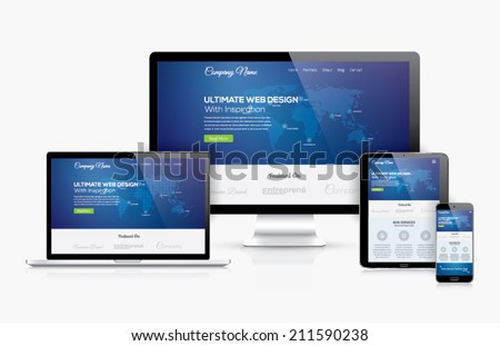 Responsive web design template in realistic vector devices concept with laptop, tablet, computer and smartphone. Illustrate web development and coding topics with this high quality computer set. - stock vector
