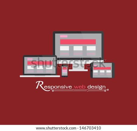 Responsive web design, vector eps10 - stock vector