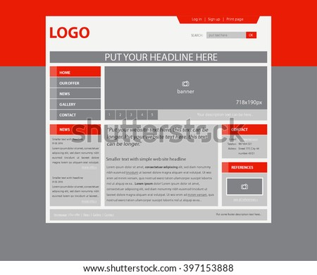 responsive web layout template for business or non-profit organization - stock vector