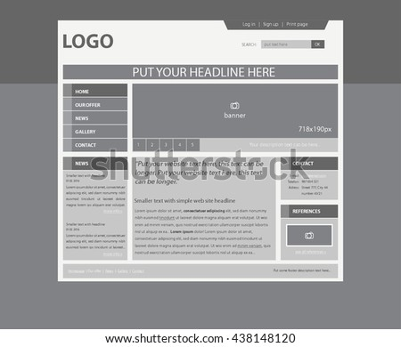 Responsive Web Layout Template Business Nonprofit Stock Vector ...