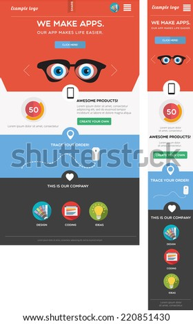Responsive web template - stock vector