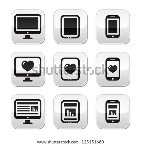 Responsive website design - computer screen, mobile, tablet buttons set - stock vector