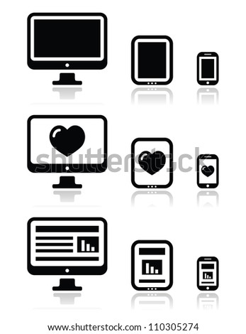 Responsive website design - computer screen, mobile, tablet icons set - stock vector