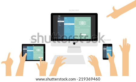 Responsive website presentation on different devices with hand gestures - flat design illustration & user interface elements isolated on white background - stock vector