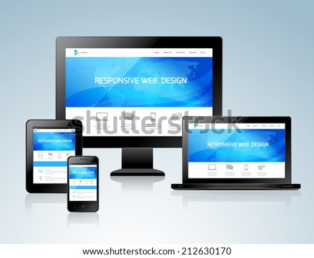 Responsive websites design for computers tablets and mobile phones concept icon vector illustration - stock vector