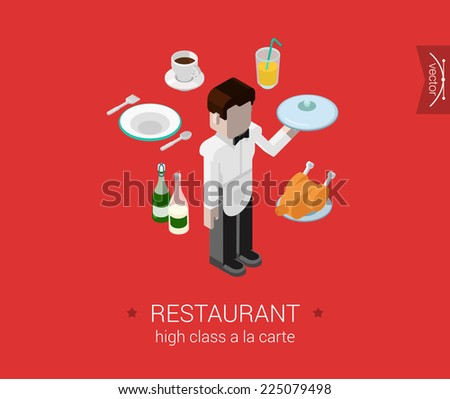 Restaurant a-la-carte waiter service flat 3d isometric pixel art modern design concept vector. Male waiter brings order food chicken champagne. Web banner illustration website click infographics. - stock vector