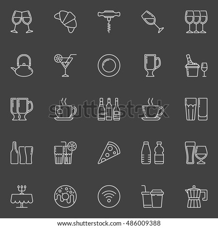 Restaurant and bar line icons. Vector collection of food and drink linear signs on dark background