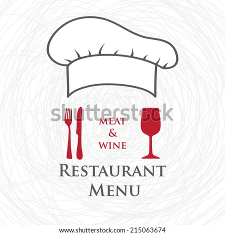 Restaurant and bar menu list. Vector illustration of chief hat, wine glass, knife and fork. - stock vector