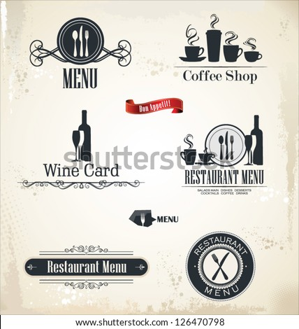 Restaurant and cafe retro labels - stock vector