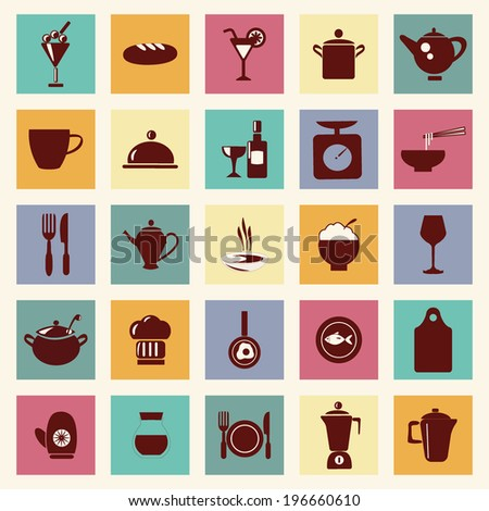 restaurant and food elements  icons set ,  kitchen-related utensils Icons - stock vector