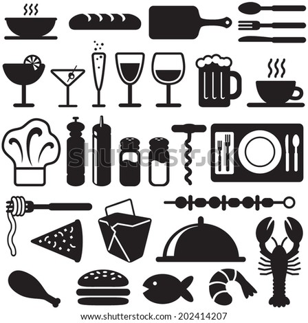 Restaurant and Food Icon Elements