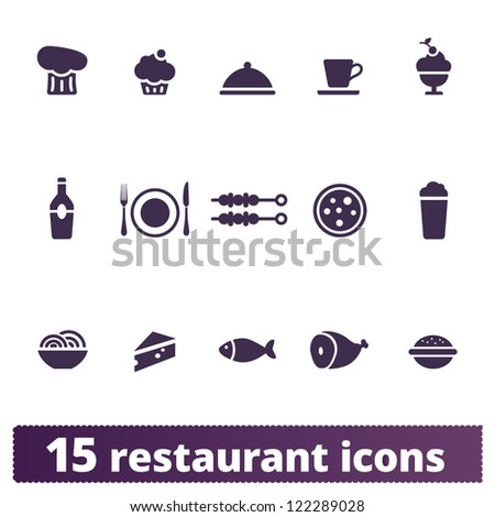 Restaurant and food icons: vector set - stock vector