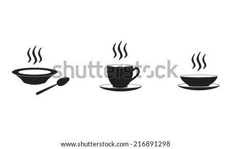 Restaurant and kitchen icons set: soup plate and coffe cup with hot food and drinks. Vector illustration. - stock vector