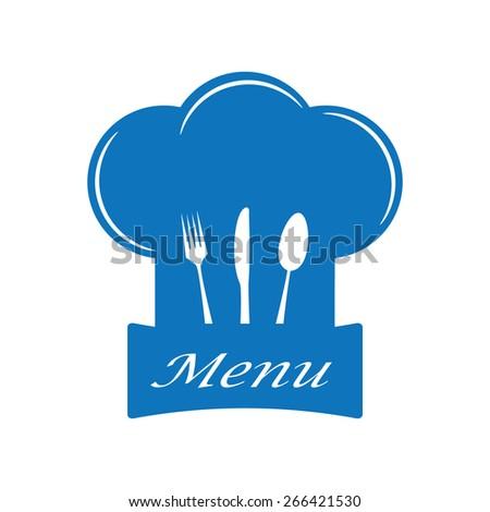 Restaurant and menu symbol, logo. Cutlery vector illustration. - stock vector