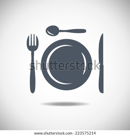 Restaurant and menu symbol, logo. Cutlery vector illustration. Spoon plate knife fork - stock vector