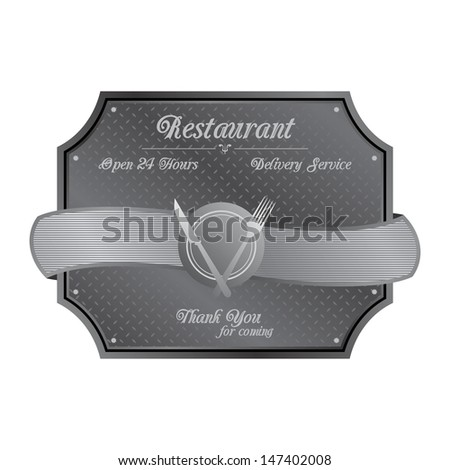 restaurant art metal plate sign - stock vector