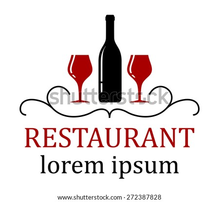 restaurant background with wine glass and bottle silhouette - stock vector