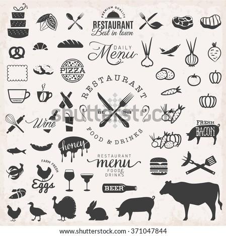 Restaurant Badges and Labels in Vintage Style. Menu Design Elements - stock vector