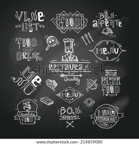 Restaurant best quality premium food menu chalkboard labels set isolated vector illustration - stock vector